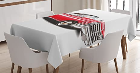 Boys Room Tablecloth By Lunarable Classic Vintage Engine Retro Car Lovers Old Fashion Shabby Chic
