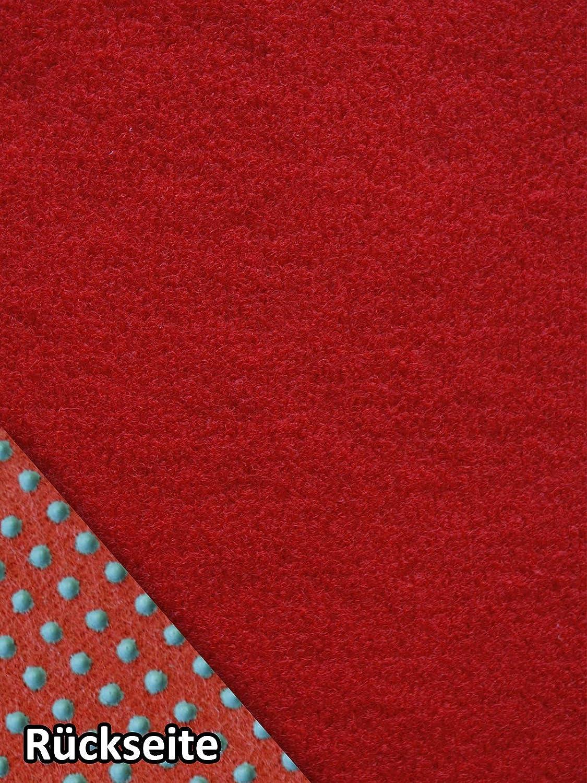 Rasenteppich Kunstrasen Basic rot Weich Meterware mit Drainage-Noppen wasserdurchl/ässig 400x500 cm