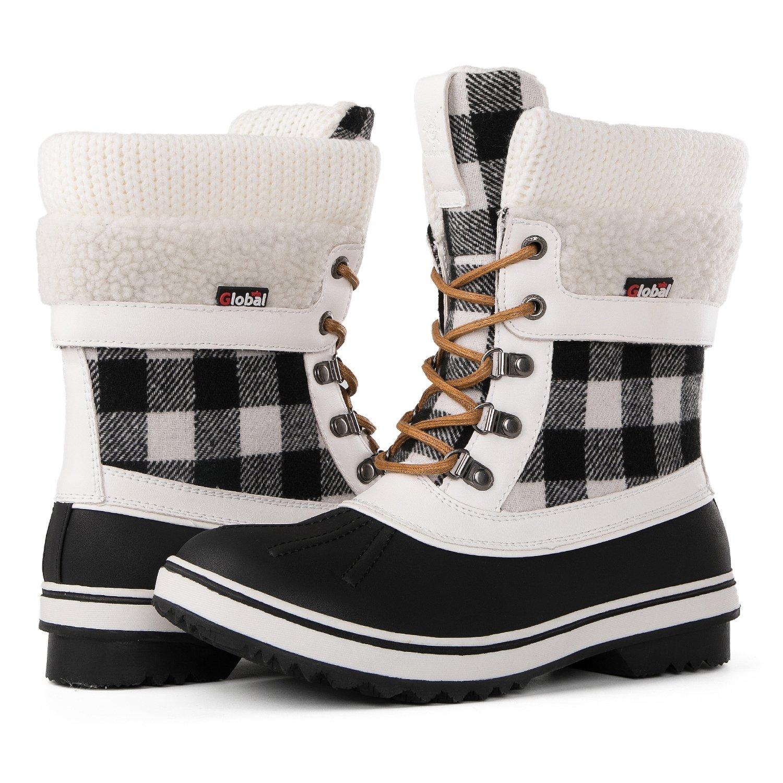 Globalwin Women's Waterproof Winter Snow Boots (5.5 D(M) US Women's, Black/White1738)