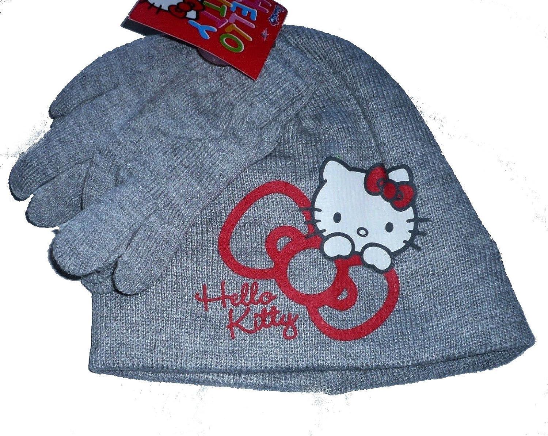 1 Conjunto de bonete y guantes Hello kitty para niño 100% acrílico gris tamaño 54, tamaño rojo 52.