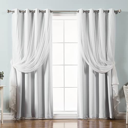 Best Home Fashion uMIXm Tulle Sheer Lace Solid Blackout 4 Piece Curtain Set Stainless Steel Nickel Grommet Top 52″ W x 96″ L Each Panel