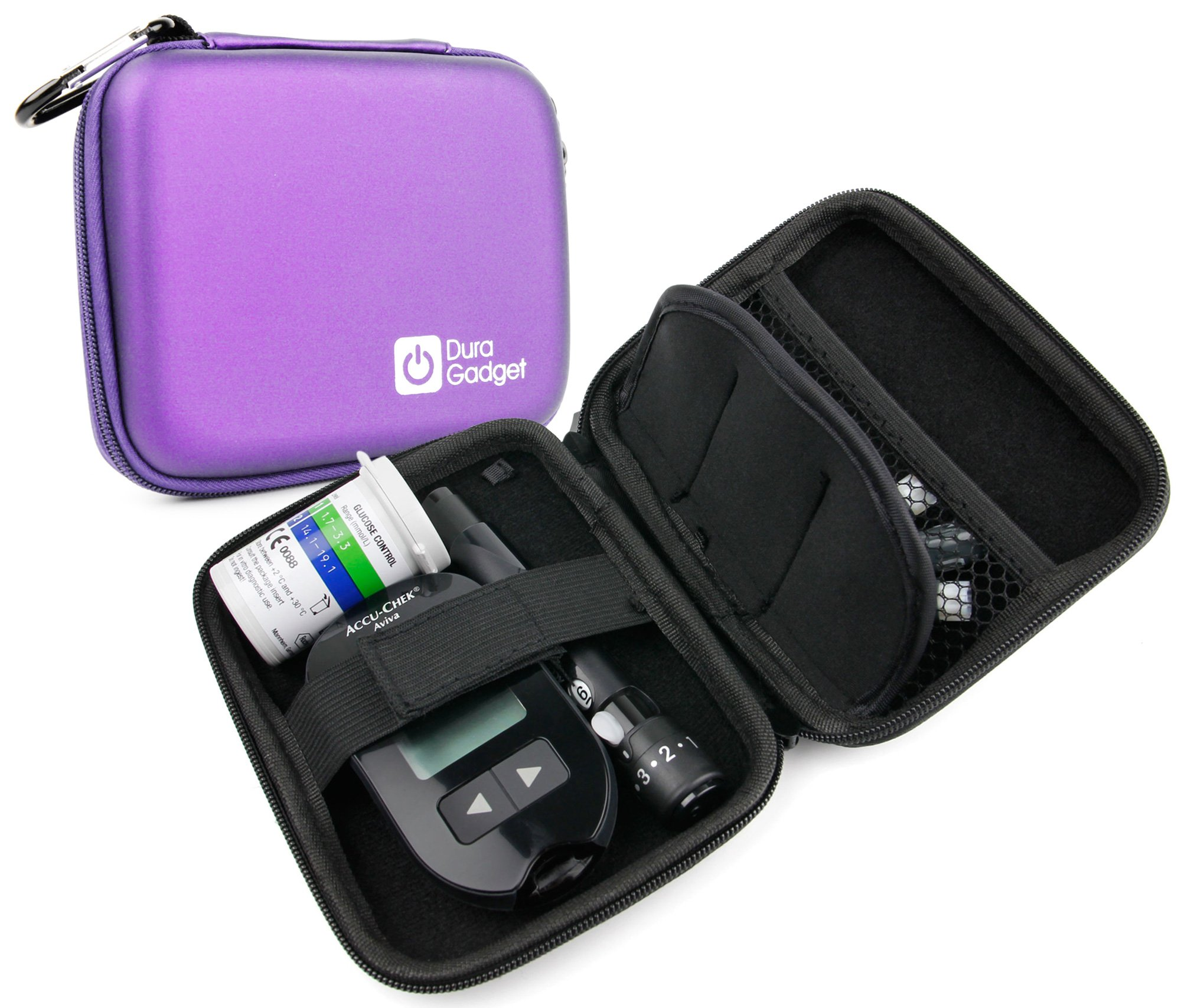 DURAGADGET Purple Rigid Insulin Diabetes Medical Supplies Shell Storage / Travel Case With Secure Dual Zips & Netted Internal Compartment
