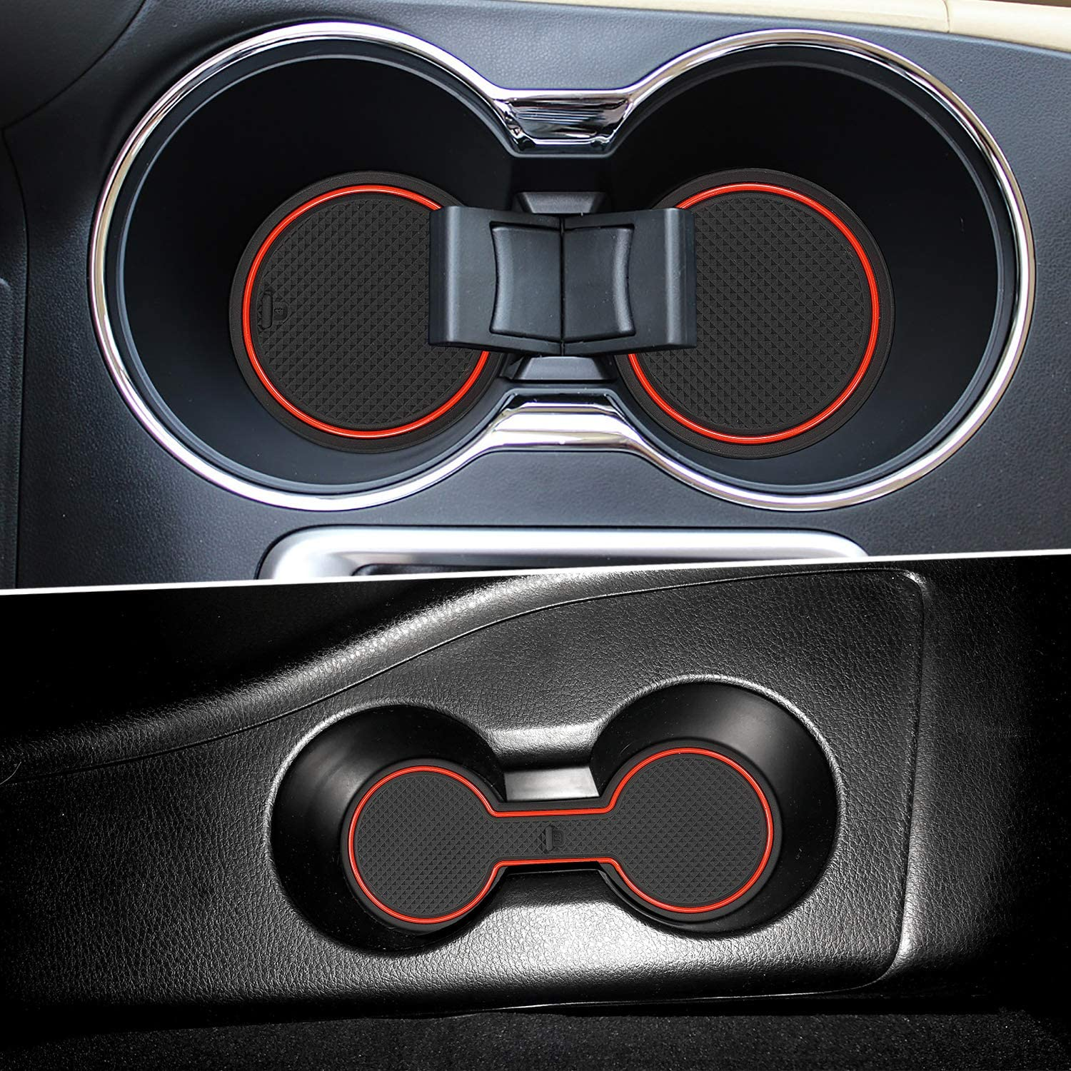 14pcs//Set, Red Auovo Anti Dust Door Mats for Toyota Highlander 2019 2018 2017 2016 2015 2014 Interior Accessories Custom Fit Door Compartment Cup Center Console Liners