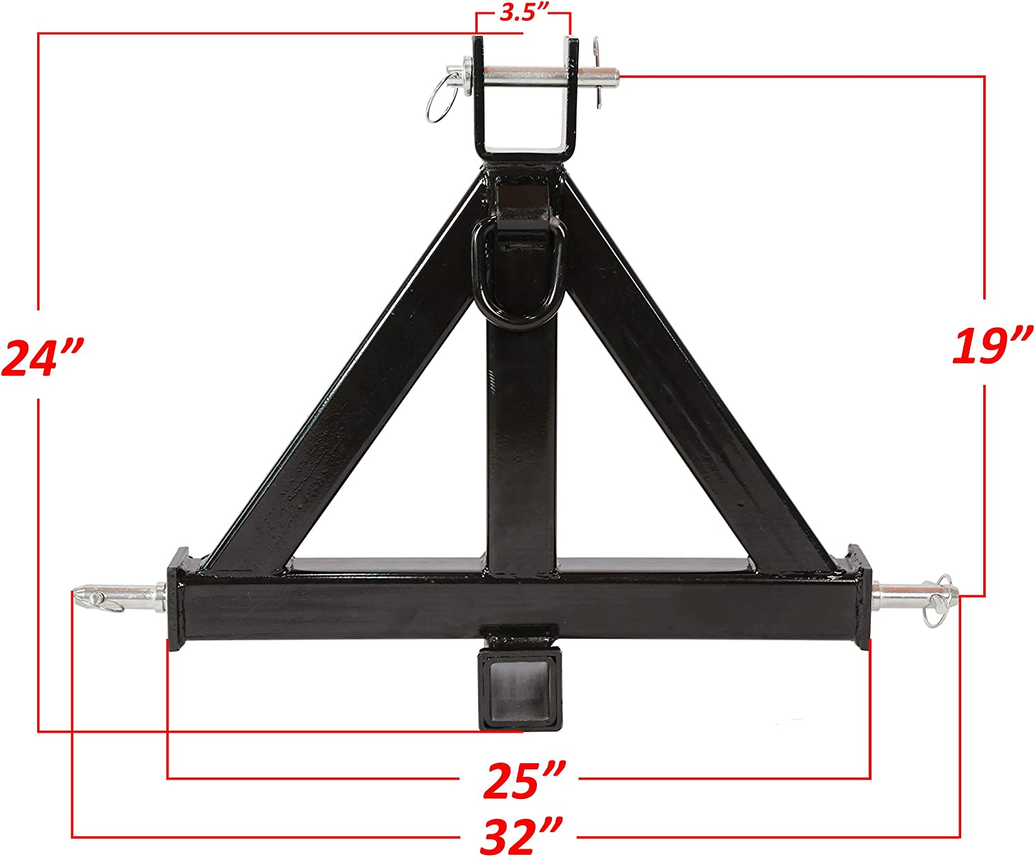 New Black Heavy Duty 3 Point 2 Receiver Trailer Hitch Category 1Tractor Tow Drawbar Pull with One Year Warranty