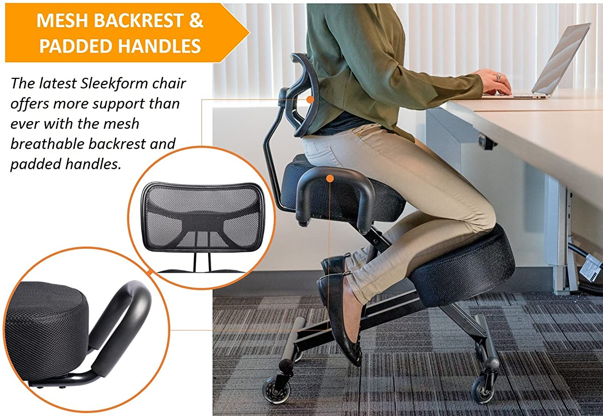 "Sleekform Kneeling Chair for Perfect Posture | Ergonomic Knee Stool Relieving Back and Neck Pain | Breathable Backrest, Padded Handles and Rollerblade Wheels | 4"" Thick Soft and Washable Mesh Cushions"