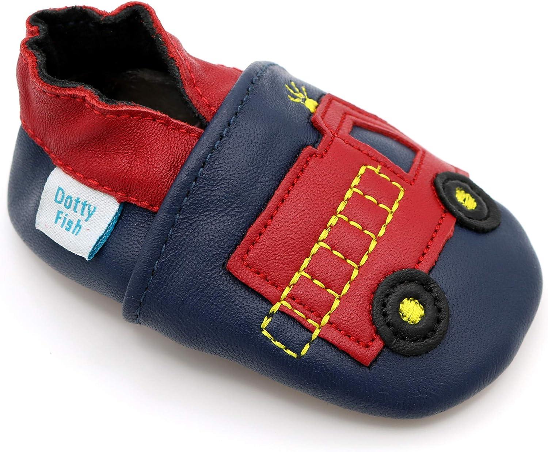 Pantoufles pour gar/çons avec Voitures et Animaux. 4-5 Ans Dotty Fish Chaussures Cuir Souple b/éb/é et Bambin 0-6 Mois