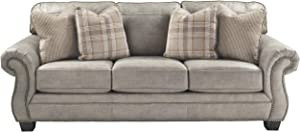 Signature Design by Ashley - Olsberg Traditional Queen Sofa Sleeper w/ Nailhead Trim and 4 Accent Pillows, Steel Gray