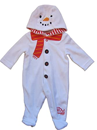 756c90579 Baby Boys Girls Ex Chainstore Christmas Snowman Hooded Sleepsuit All ...