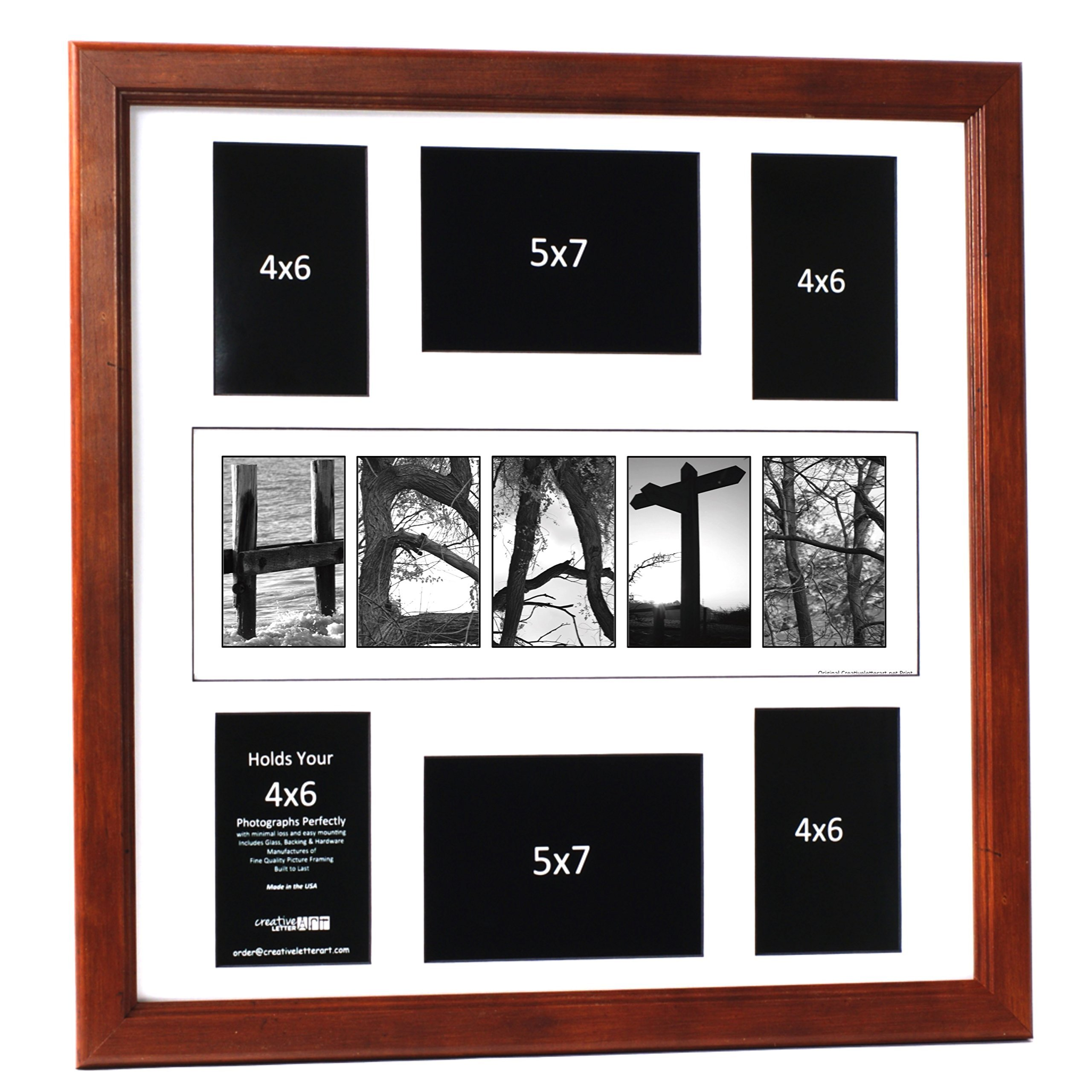 Wedding Bride and Groom Personalized 20 by 20 inch Guest Book Registry Nature Related Name Collage including Frame, 6 Opening Name Collage for 4x6 and 5x7 Photographs with Signature Board