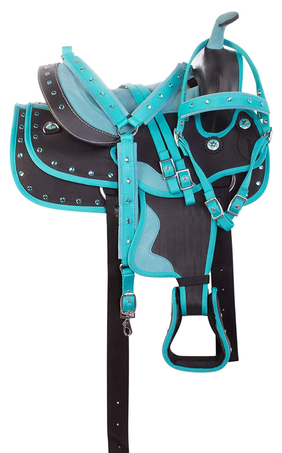 AceRugs Turquoise Crystal Show Youth Kids Size Western Horse Pony Saddle TACK Set Barrel Trail Bridle REINS Breast Collar