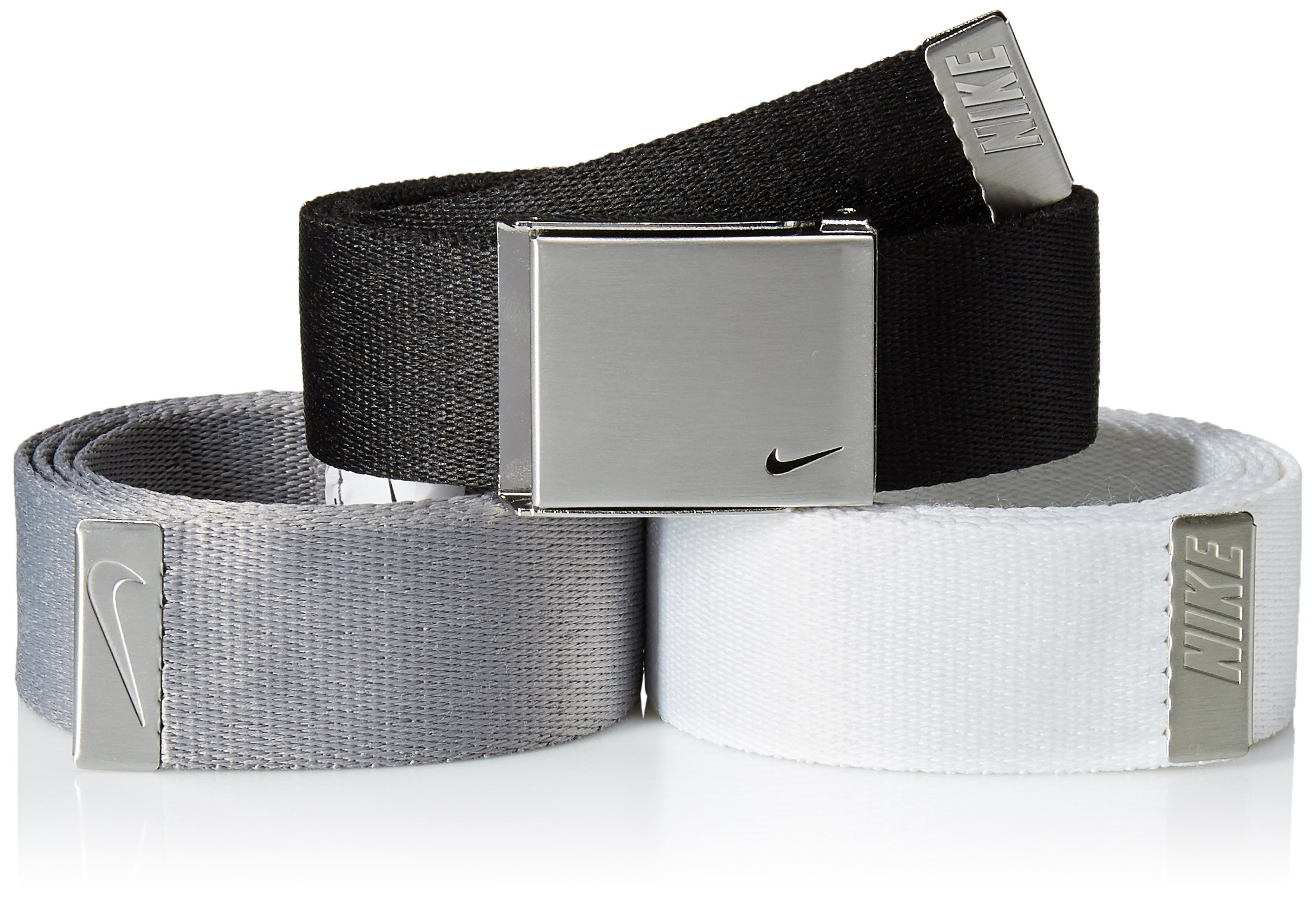 Nike Men's 3 Pack Golf Web Belt, black/White/Grey, One Size