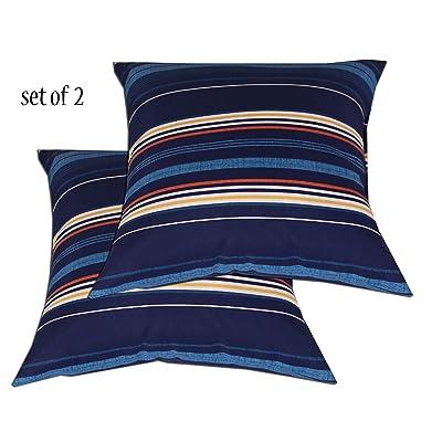 Comfort Classics Inc. Outdoor/Indoor Patio Throw Pillow in Spun Polyester Navy Striped Pattern (Set of 2) 15x15x5 : Garden & Outdoor