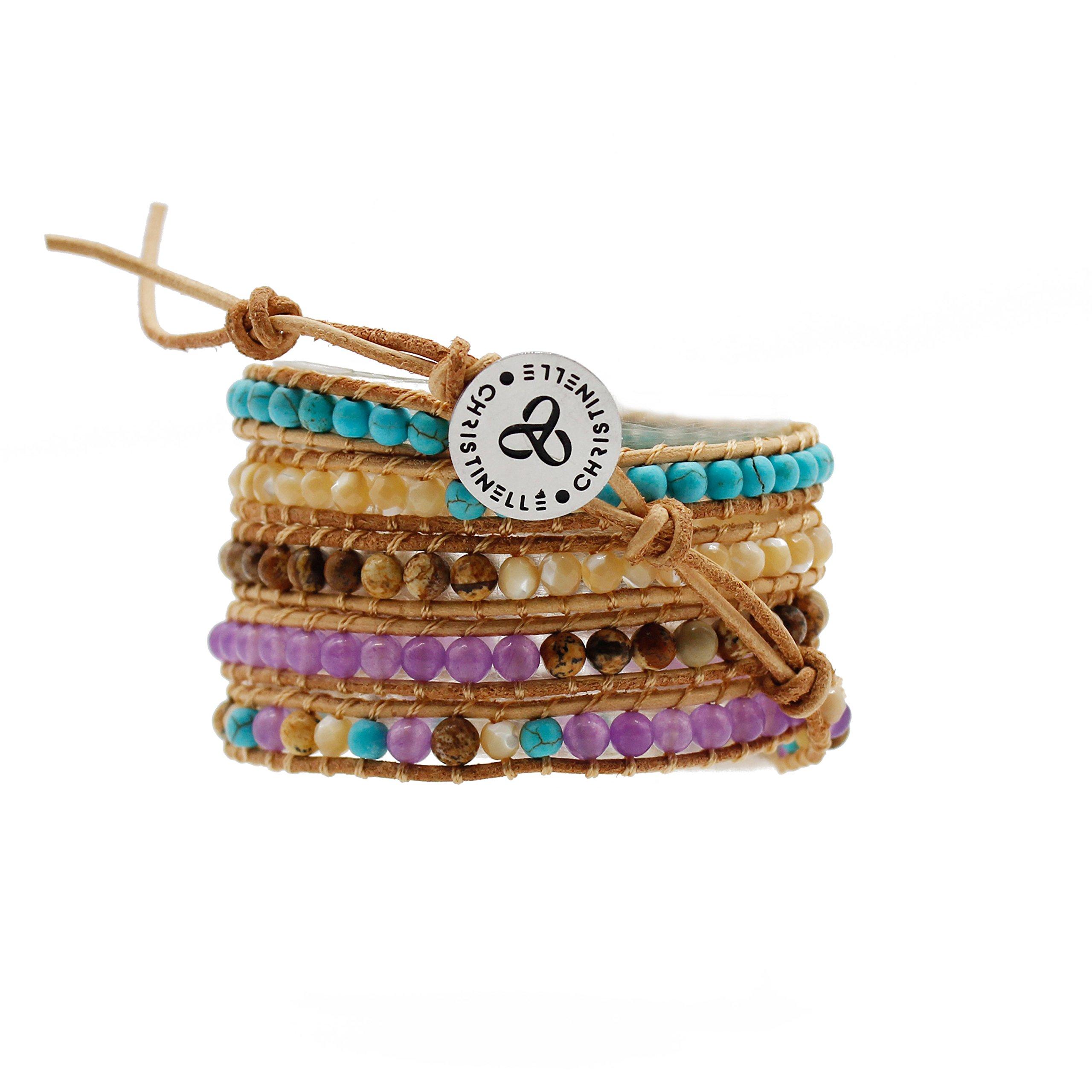 Christinelle Leather Wrap Bracelet, Beaded Bracelets for Women, Five Rows Purple, Blue, Tan, Brown, Cream Beads, 36''