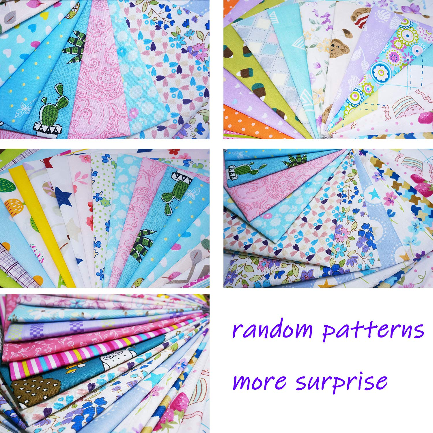 Quilting Fabric, Misscrafts 50pcs 12'' x 12'' (30cm x 30cm) Cotton Craft Fabric Bundle Patchwork Pre-Cut Quilt Squares for DIY Sewing Scrapbooking Quilting Dot Pattern by Misscrafts (Image #3)