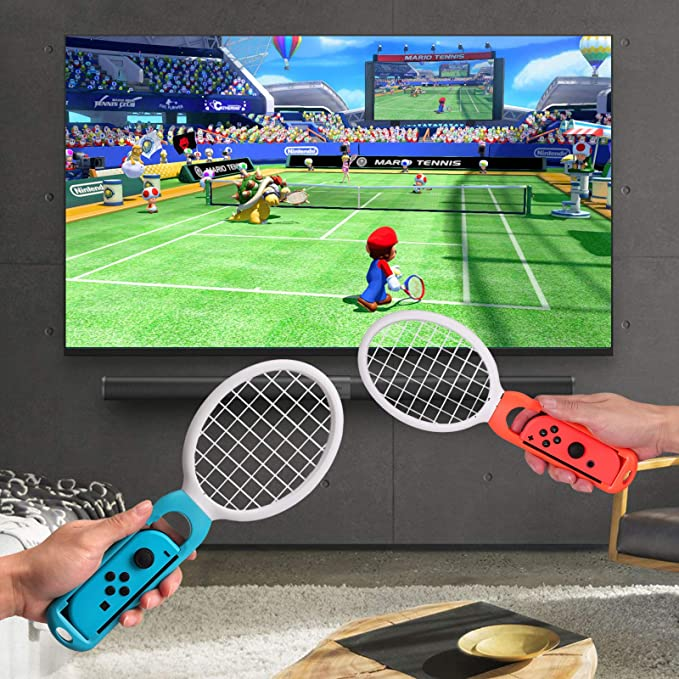 AUTOUTLET Grip for Nintendo Switch Joy-Con, Tennis Racket,Steering Wheel,Accessories for Mario Tennis Aces Game,3-Pack Switch Controller Grip Handle ...
