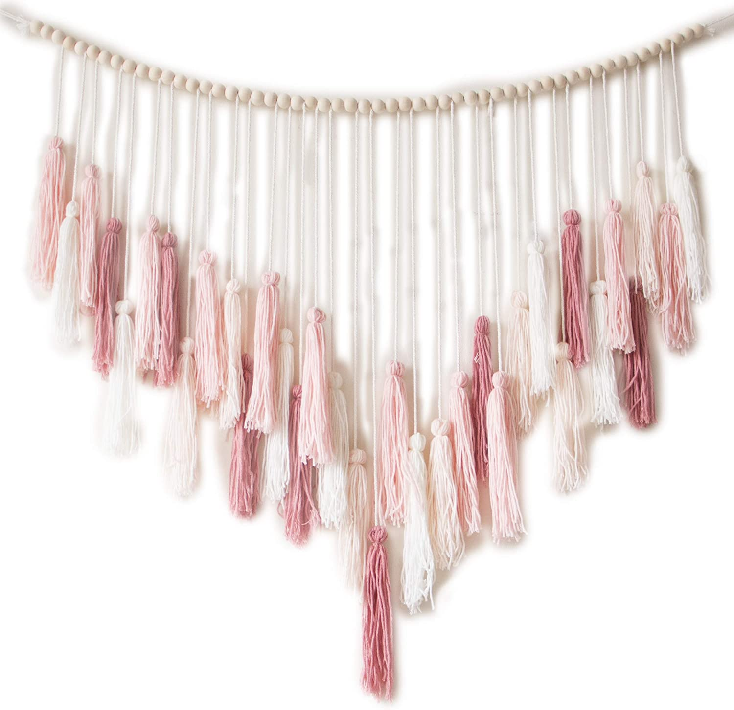 Decocove Macrame Wall Hanging - Large Macrame Wall Hanging with Wood Beads - Bohemian Wall Decor for Bedroom, Living Room and Kitchen - Warm Blush Pink - 35'' x 36''
