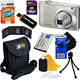 Nikon COOLPIX A100 20.1 MP Digital Camera with 5x Zoom Lens & 720p HD Video (Silver) - International Version (No Warranty) + EN-EL19 Battery + 8pc 16GB Accessory Kit w/HeroFiber Gentle Cleaning Cloth