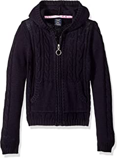 U.S. Polo Assn. Girls Cable Knit Zip Front Hi-lo Hooded Sweater Sweater