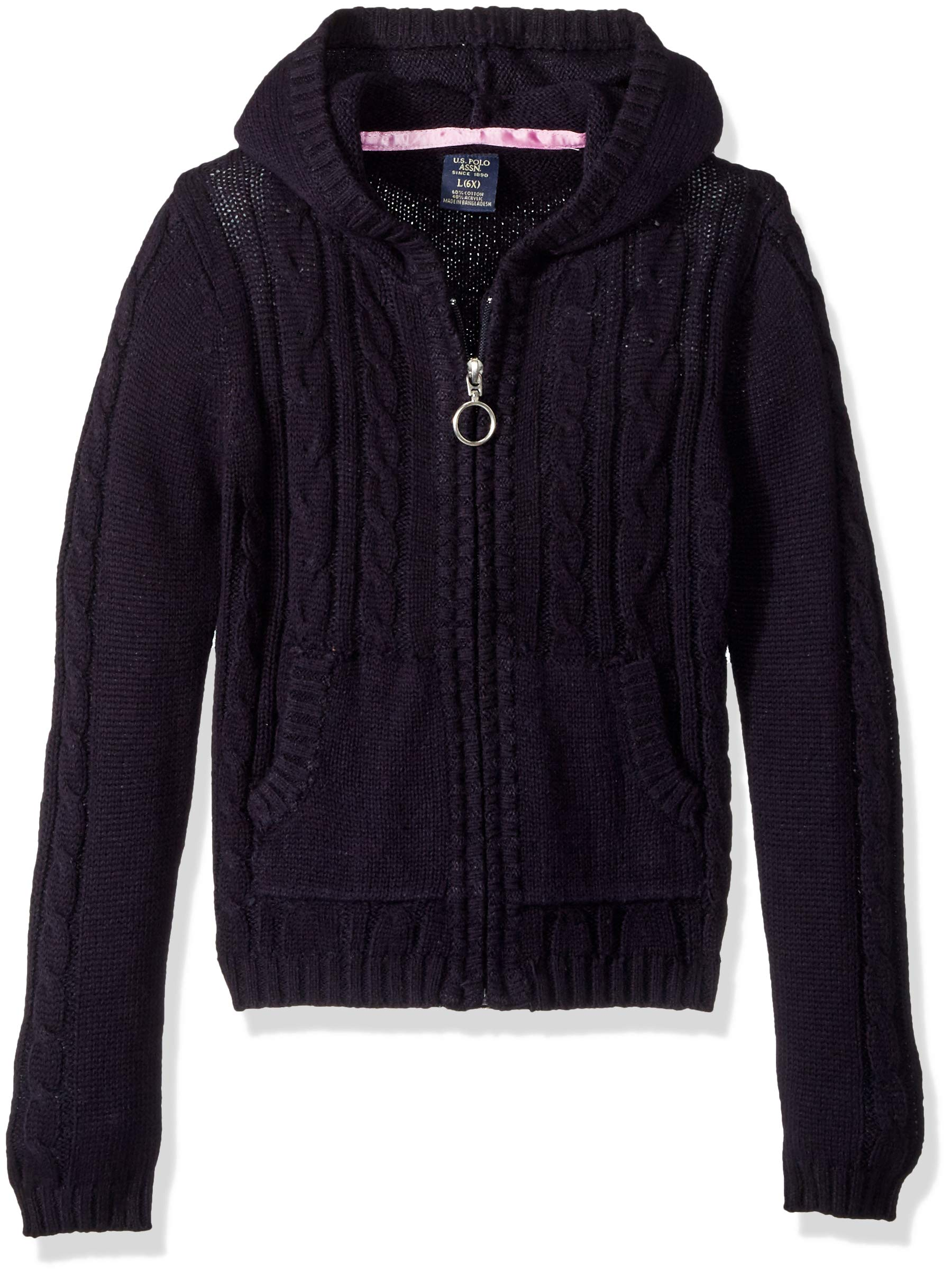 U.S. Polo Assn. Girls' Little Cable Knit Zip Front Hi-Lo Hooded Sweater, Navy, 6X