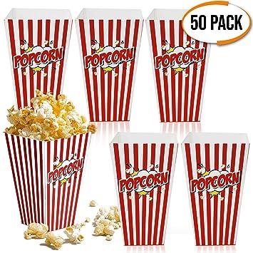 50 Bolsas Palomitas 18x10cm| Cajas de Palomitas, Popcorn Boxes - Cartones de Palomitas Retro| Cumpleaños, Película, Cine, Carnaval, Bodas, Bolsos de ...
