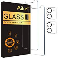 Ailun 2 Pack Screen Protector Compatible for iPhone 12[6.1 inch] + 2 Pack Camera Lens Protector,Tempered Glass Film,[9H…