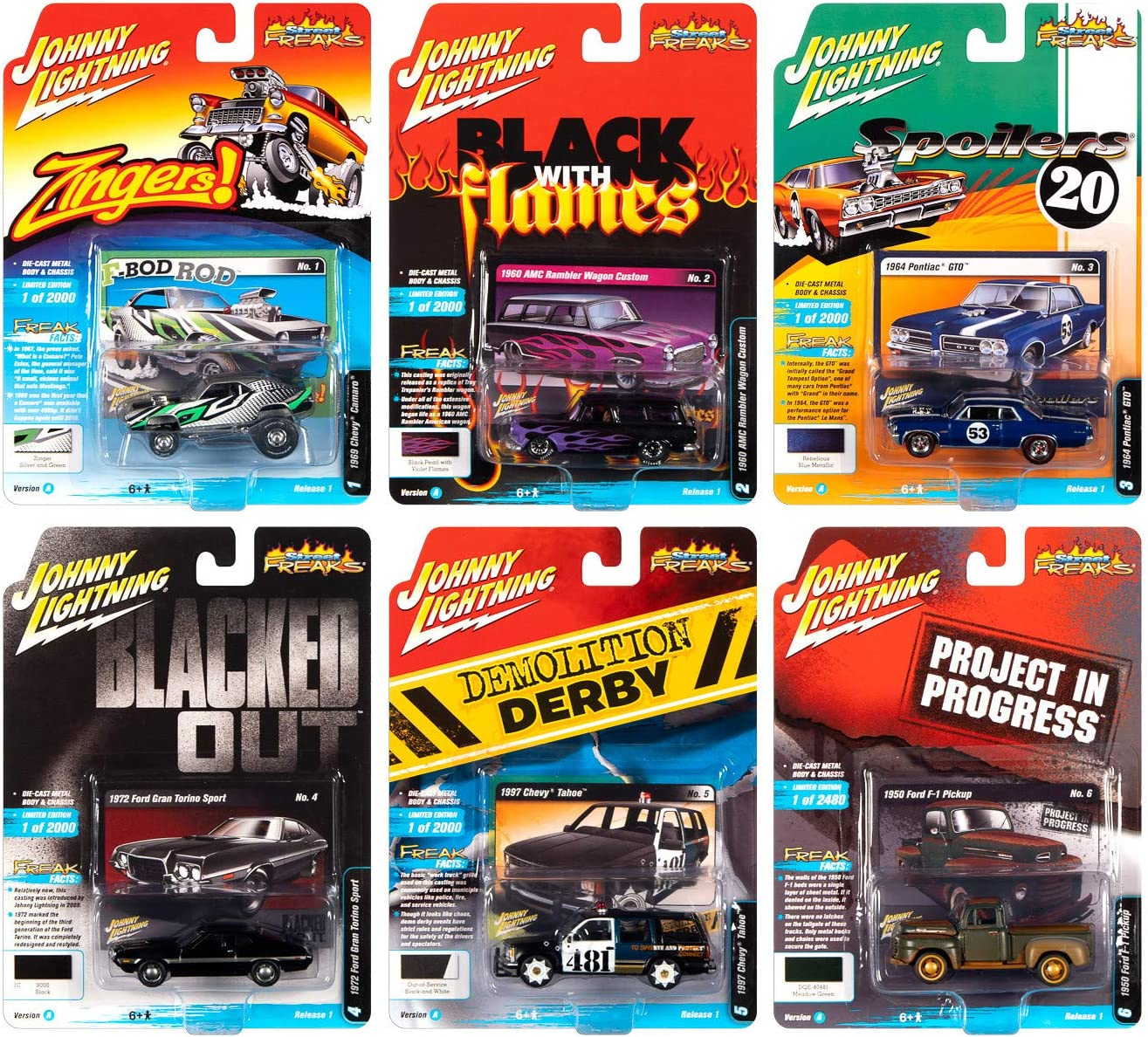 Amazon Com Street Freaks 2020 Release 1 Set A Of 6 Cars 1 64 Diecast Models By Johnny Lightning Jlsf015 A Toys Games