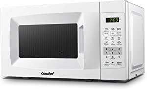 COMFEE' EM720CPL-PM Countertop Microwave Oven with Sound On/Off, ECO Mode and Easy One-Touch Buttons, 0.7 Cu Ft/700W, Pearl White