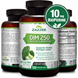 DIM 250 mg | 120 Veggie Caps | 10 mg BioPerine | 4 Month Supply | Plus Pure Broccoli Extract | Vegan and Non-GMO | 250 mg per Capsule | Extra Strength | Supports Healthy Estrogen Levels and Metabolism