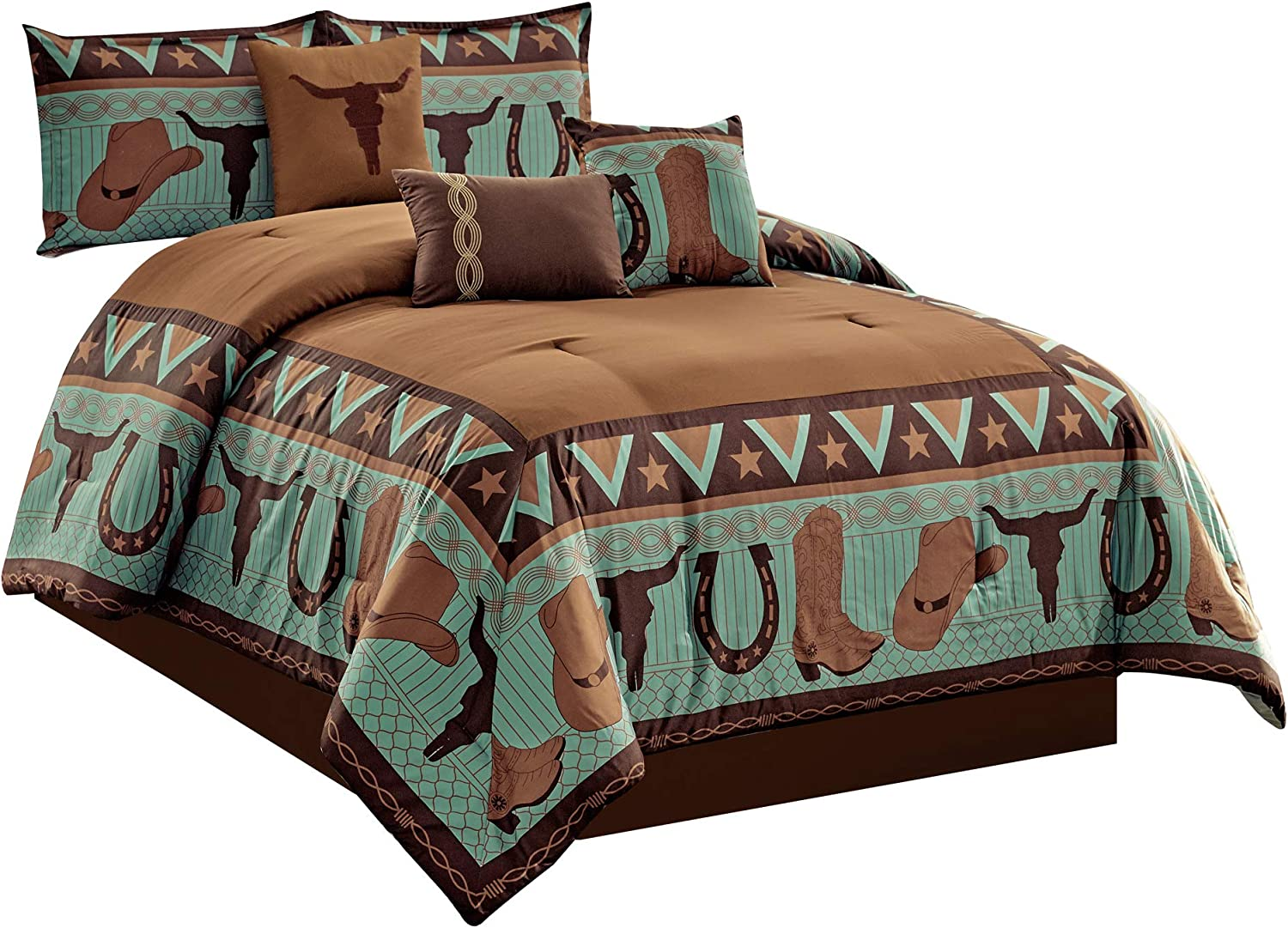 WPM WORLD PRODUCTS MART 7 Piece Cabin Lodge Comforter Set Brown/Teal Horseshoe, Horse, Barb Wired Cow Boy Hat Boot Print Southwestern Cowboy Queen Size Bedding- Western (Queen)