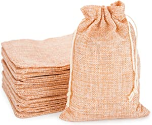 Burlap Bags with Drawstring, EUSOAR 5 x 7 inch Gift Bags 50 pcs, Linen Pouches with Drawstring, Reusable Sacks, Handmade Business Package Present Bags, Birthday Wedding Party Pouches-Apricot