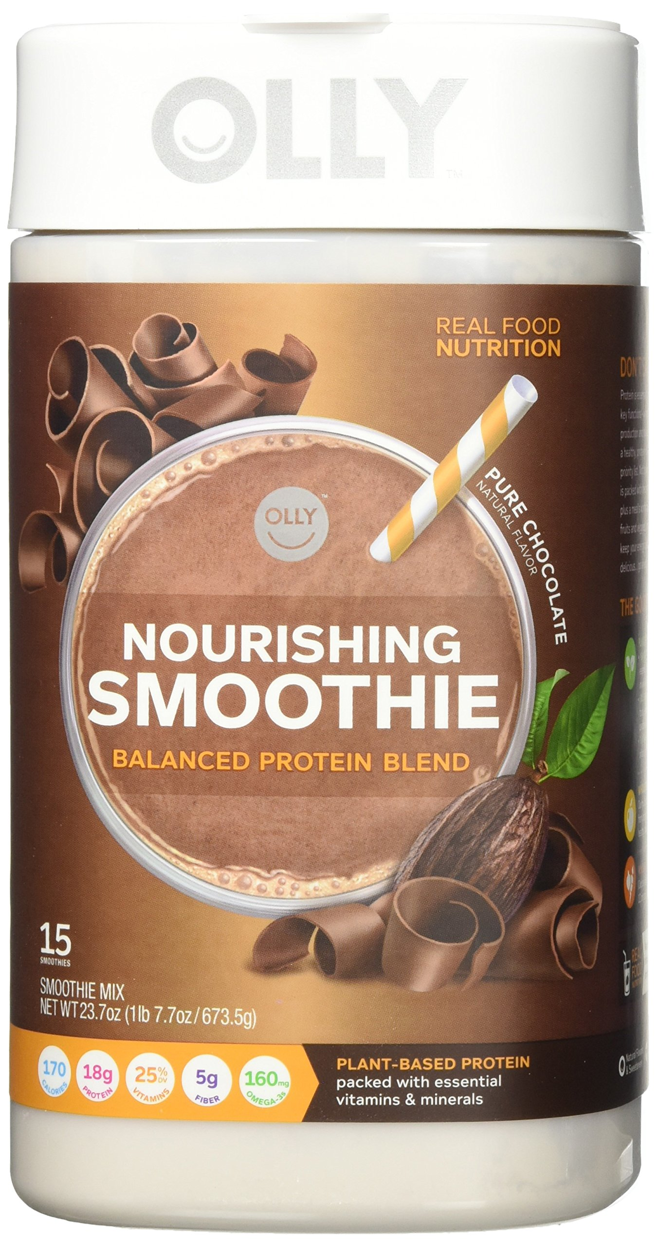 OLLY Nourishing Protein Powder; 18g plant-based protein; Pure Chocolate; 23.7oz (15 servings)