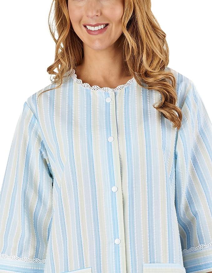 Slenderella HC1224 Women s Stripe Seersucker Blue Dressing Gown Loungewear  Bath Robe 3 4 Length Sleeve Robe  Slenderella  Amazon.de  Bekleidung 9859b62c6