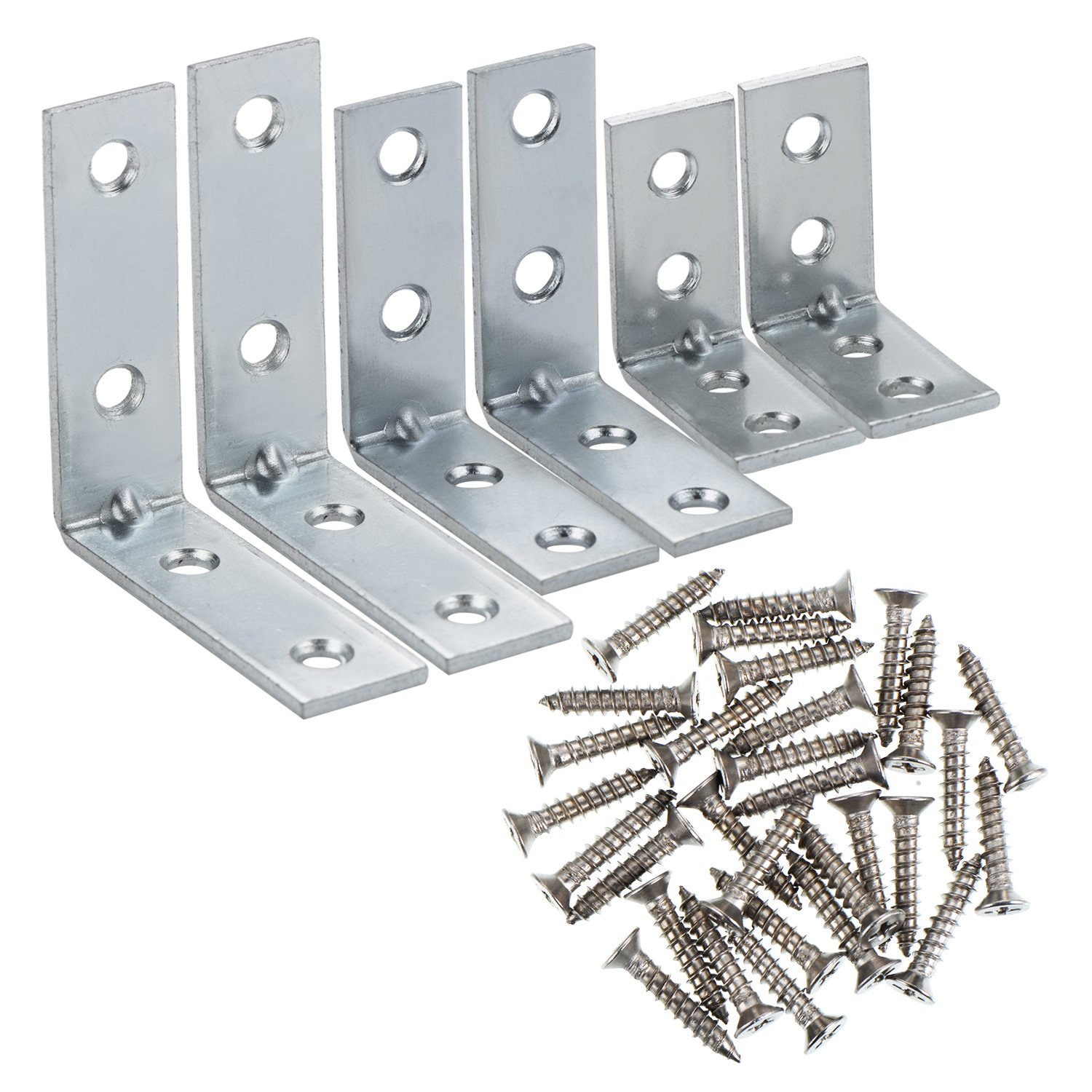 eBoot Corner Braces Angle Brackets 90 Degree Metal Corner Brackets Joint Bracket Fastener 3 Sizes with Screws