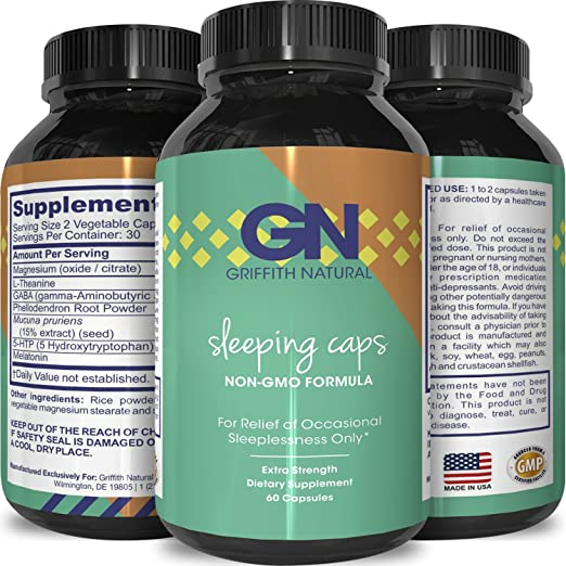 Natural Sleep Aid Pills - Best Herbal Sleeping Formula - Melatonin - GABA - L Theanine - 5 HTP - Top OTC Revitalizing Supplement Stack - Fall Asleep Fast - for Adults - Griffith Natural