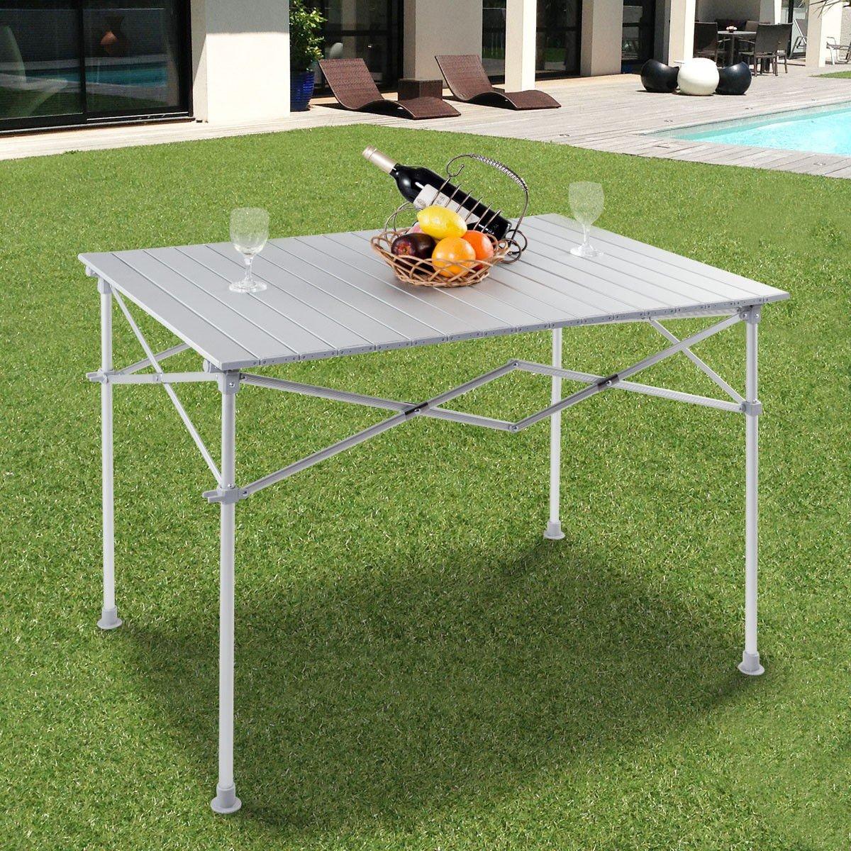 MD Group Picnic Camping Table Folding Design Aluminum Lightweight Indoor Outdoor Patio Garden BBQ Desk