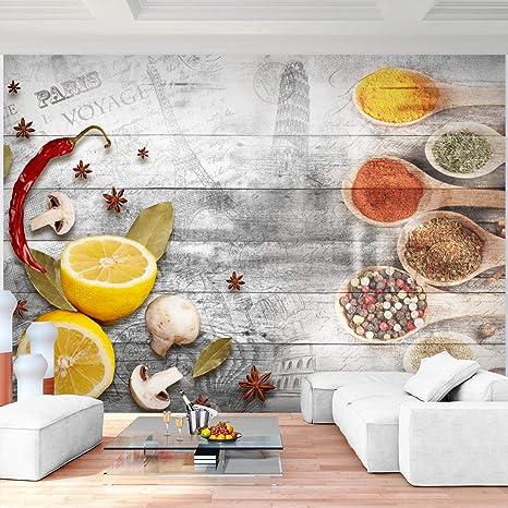 Fototapete Küche 3D Effekt 396 x 280 cm - Vlies Wand Tapete Wohnzimmer  Schlafzimmer Büro Flur Dekoration Wandbilder XXL Moderne Wanddeko - 100%  MADE ...
