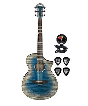 Ibanez aewc32fm Thinline acústica guitarra eléctrica paquete en azul Burst con guitarras guitarra eléctrica acústica de
