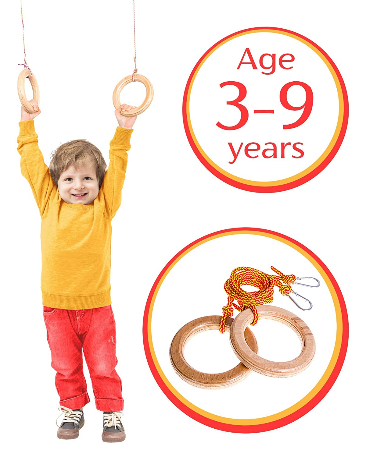 Monkey rings Accessories for swing set jungle gym Gymnastic toys for indoor play gym playground Gymnastics equipment for home for kids and toddler EVAS Kids gym rings