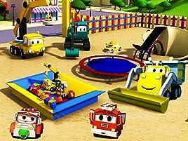 Equipo Constructor construye el Trampolín y el lavado de Autos. ¡Ethan el camión volquete, Edgar la excavadora y Charlie la grúa son los miembros ingeniosos ...