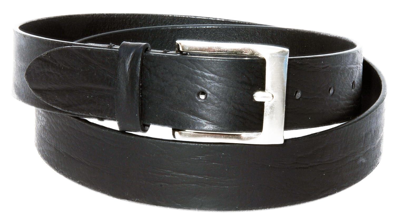 Celini Men/'s Full Grain Steerhide Leather Belt Brushed Nickel Buckle