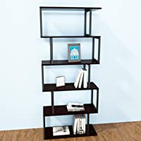 JOISCOPE Bookshelf Rack, 5-Tier Industrial Easy-Assembly Metal Frame Bookcase Storage Shelf for Living Room, Narrow…