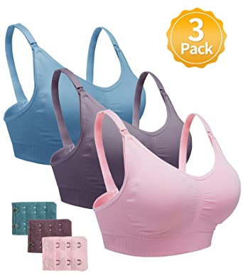 76ff8a7f346 Nursing Bra for Women Breastfeeding Maternity Bralette 3 Pack Seamless Bras(Blue Pink Dark  Purple