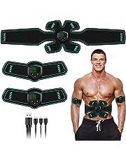 FYLINA EMS Muskelstimulator Bauchmuskeltrainer USB Elektrostimulation Muskeltraining Trainingsgerät Abs Stimulator Bauchtrainer Massagegerät Mit 12 Tabletten Gel
