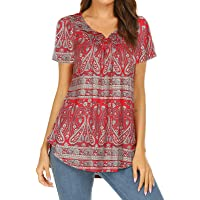 Women's Paisley Printed Long Sleeve Henley V Neck Pleated Casual Flare Tunic Blouse Shirt - Red - XXX-Large