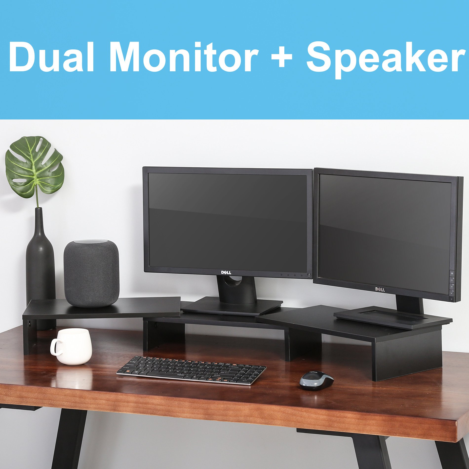 FITUEYES 3 Shelf Monitor Stand Riser with Adjustable Length and Angle,DT108001WB by FITUEYES (Image #4)