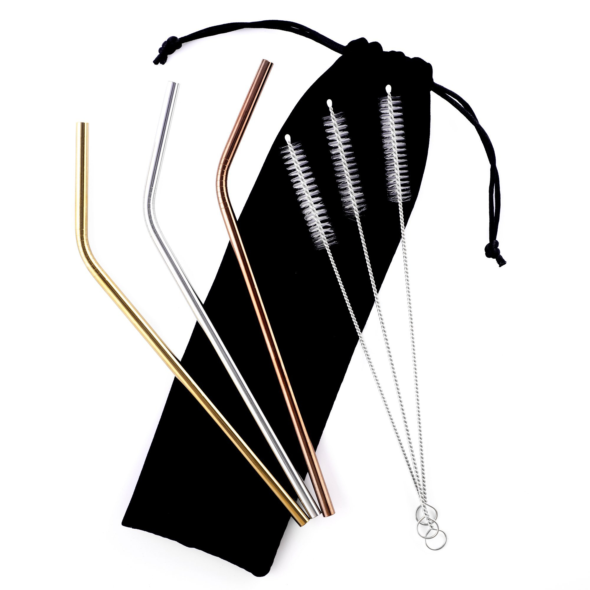 AINutri Stainless Steel Straws for 20 oz Tumblers, Set of 3 Reusable Multi-Color 8.5 Inch x 6 mm Metal Straws, 3 Cleaning Brushes and Carry Bag