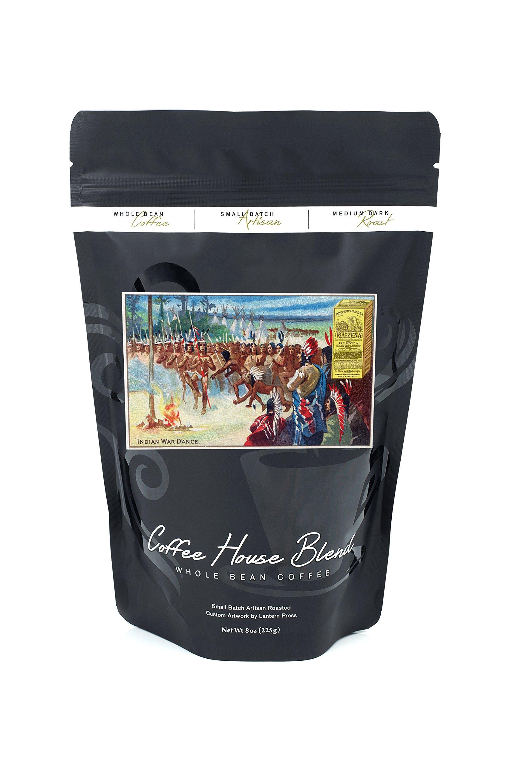 View of an Indian Dance, Maizena Product Ad (8oz Whole Bean Small Batch Artisan Coffee - Bold & Strong Medium Dark Roast w/ Artwork)