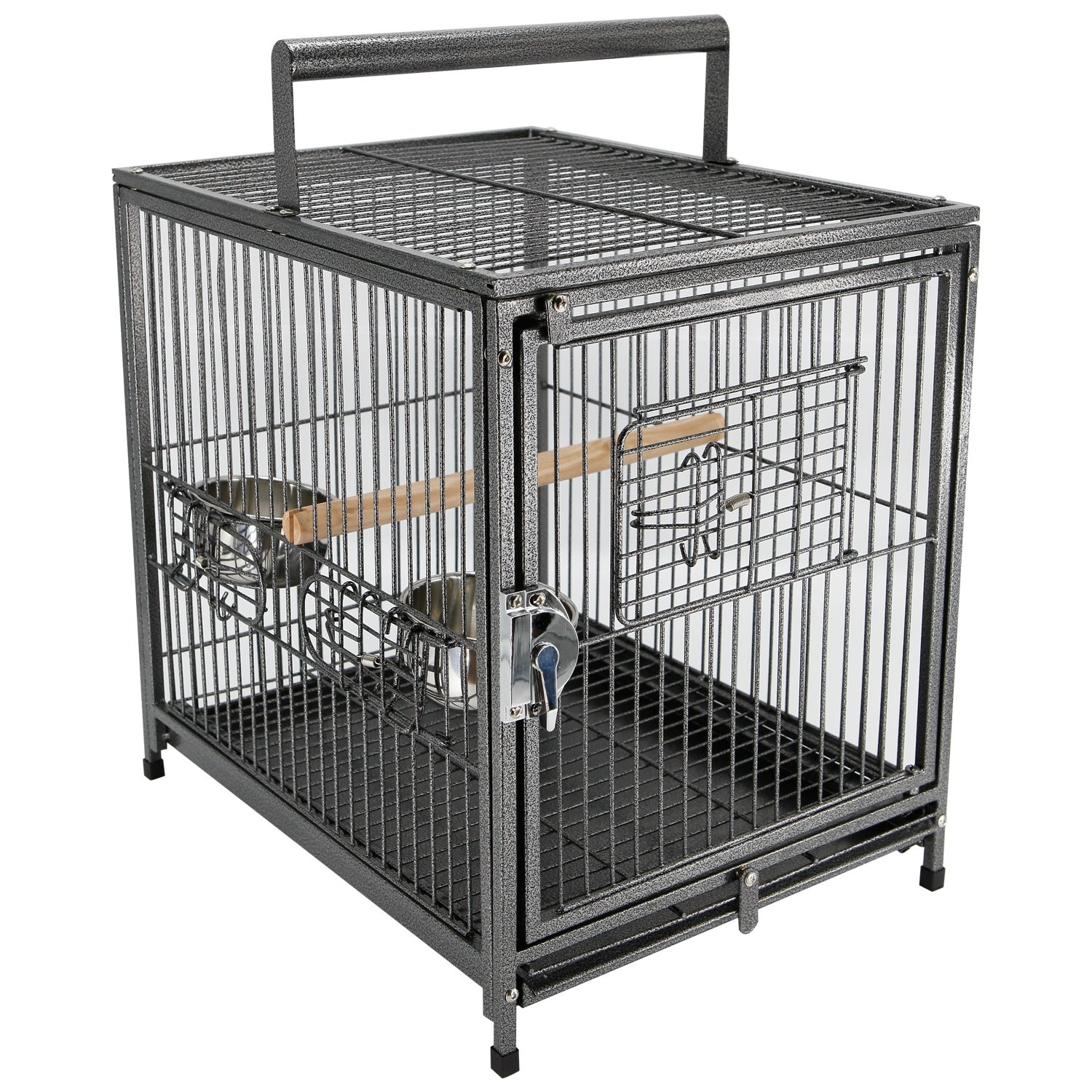 PawHut 22'' Heavy Duty Wrought Iron Travel Bird Cage Carrier with Handle Perch and Accessories - Black by PawHut