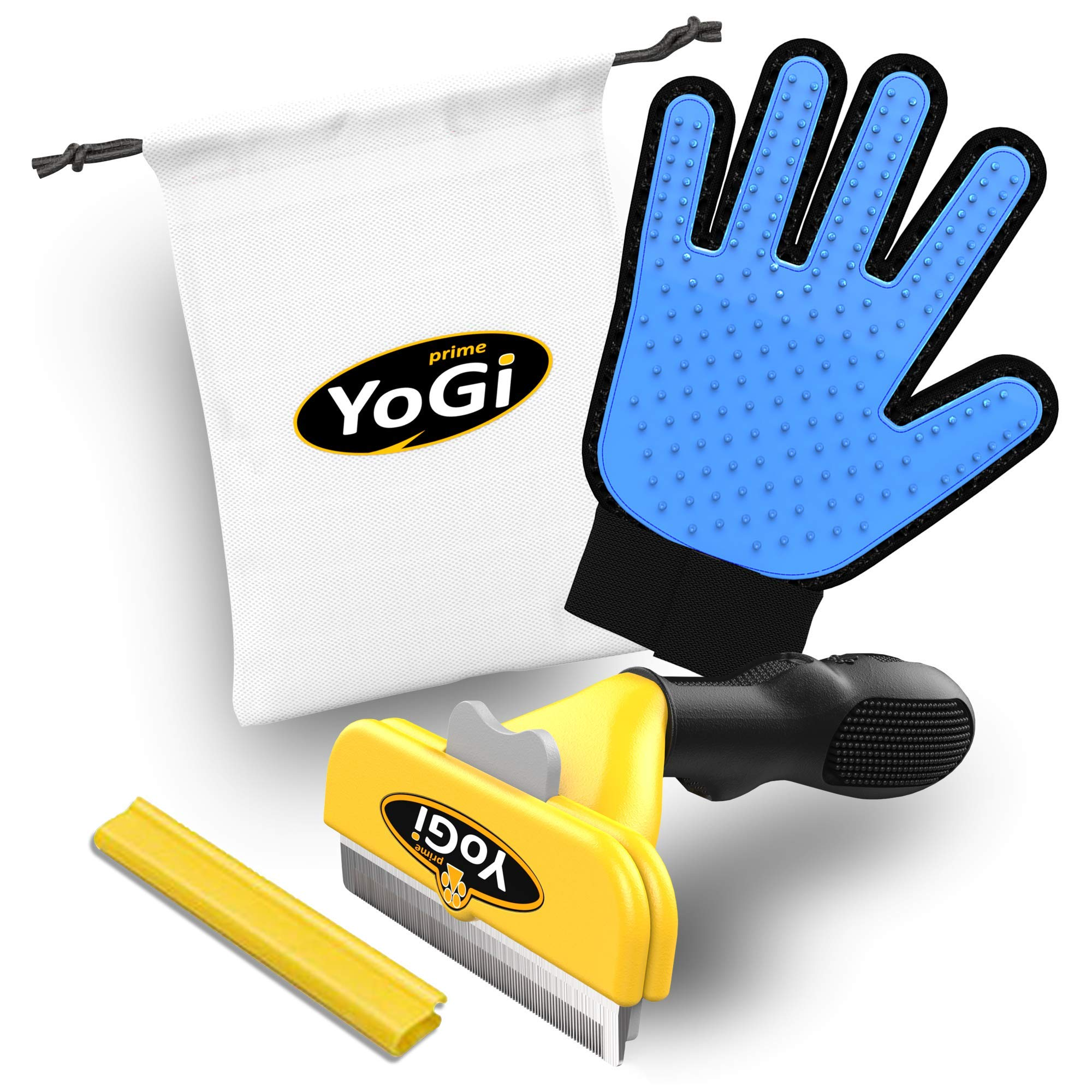 Dog Brush for Shedding and Pet Grooming Glove by YoGi Prime - Pets deShedding tools for dogs and cats, Groom your babys with this fantastic grooming set and they will be happy. Fit to all pet sizes. 4' inch brush. Dogs groomer hair remover kit for long and short hair. No More shedding hair everywhere around the house and car. product image