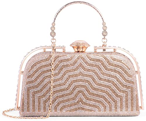 5c4e24d0b5 Yuenjoy Womens Evening Bags Rhinestone Clutch Purse for Bridal Wedding  (Gold)